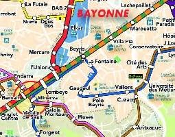 Biarritz Julkisen liikenteen kartta