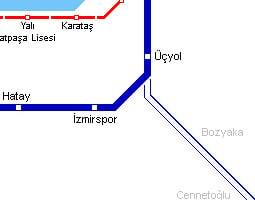 イズミル公共交通機関地図