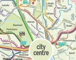 Cardiff Julkisen liikenteen kartta