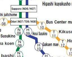 Sapporo Karta över kollektivtrafik
