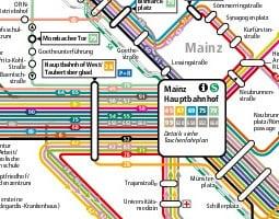 Mapa verejnej dopravy – Mainz