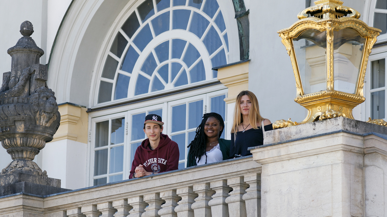 Students on the balcony