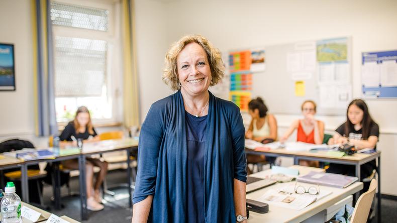 Happy teacher at Carl Duisberg