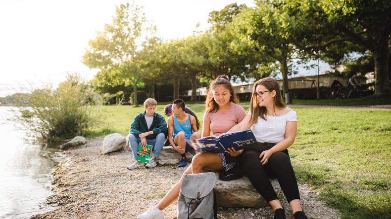 Students at the lake