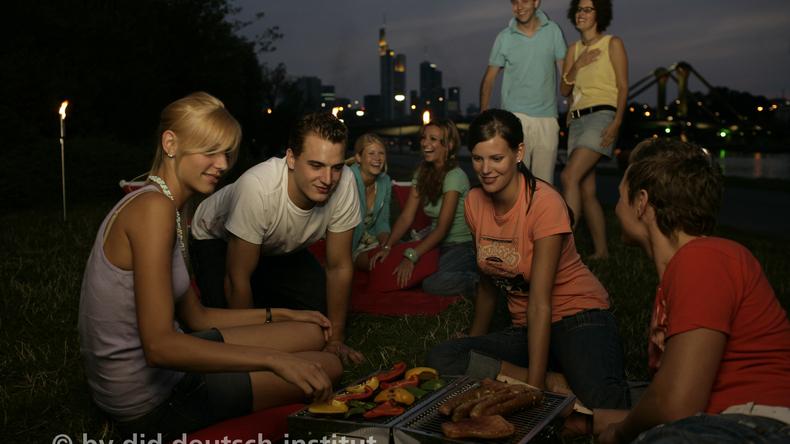 Students socialising in Frankfurt