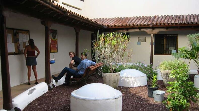 Don Quijote outside relaxing area