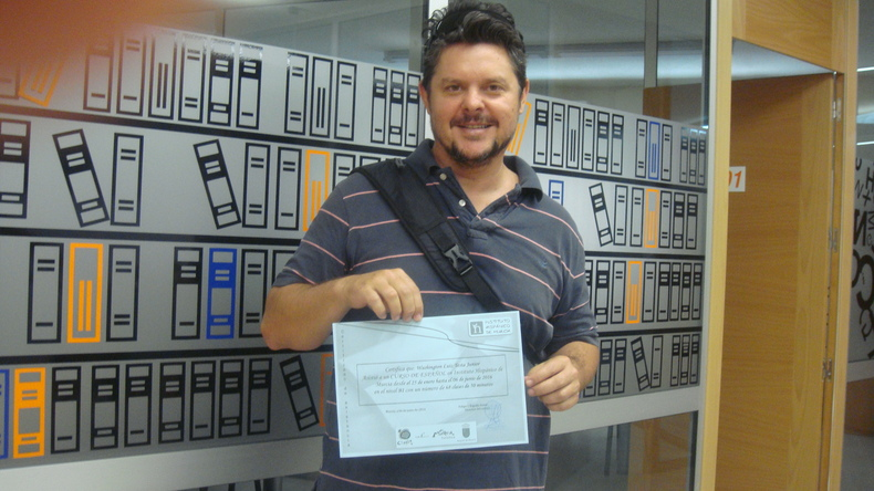 Student with certificate