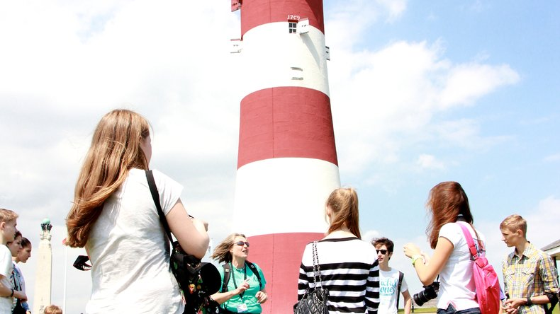 Students exploring Plymouth