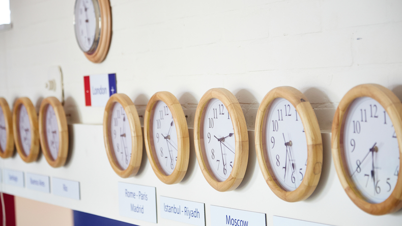 Southbourne School of English Cafeteria clocks