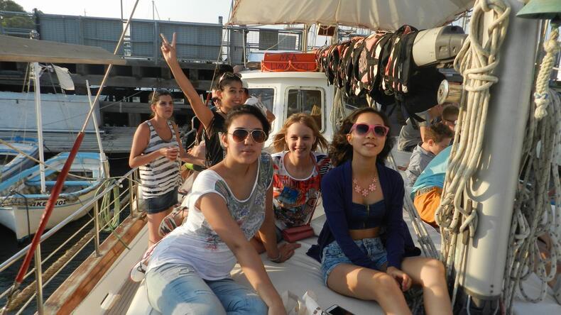 Studenter på yacht